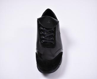 Мъжки спортно елегантни обувки естествена кожа черни OFNK-1011260