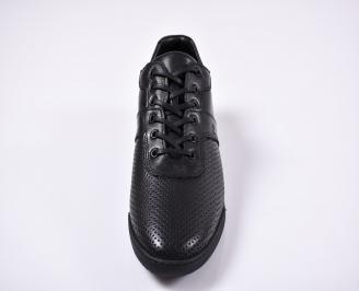 Мъжки спортно елегантни обувки естествена кожа черни ZWKN-1011261