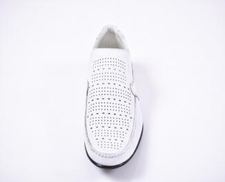 Мъжки спортно елегантни обувки естествена кожа бели SCEX-1011386