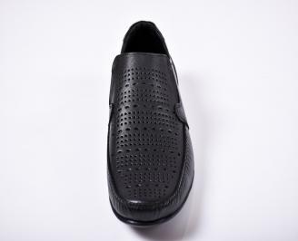 Мъжки спортно елегантни обувки естествена кожа черни RZQL-1011400