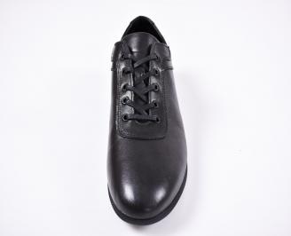 Мъжки спортно елегантни обувки естествена кожа черни MXUO-1011421