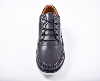 Мъжки спортно елегантни обувки естествена кожа черни GLHK-1011581