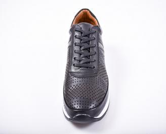 Мъжки спортно елегантни обувки естествена кожа черни GEQJ-1011583
