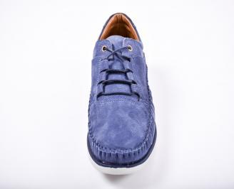 Мъжки спортно елегантни обувки естествен набук сини ZNGV-1011584