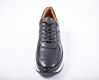 Мъжки спортно елегантни обувки естествена кожа черни LBFZ-1011585