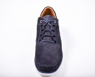 Мъжки спортно елегантни обувки естествен набук сини BPWU-1011586
