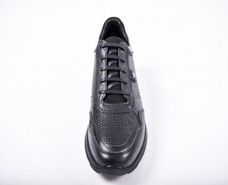 Мъжки спортно елегантни обувки естествена кожа черни IJZE-1011587