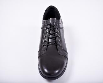 Мъжки спортно елегантни обувки естествена кожа черни BVKL-1011663