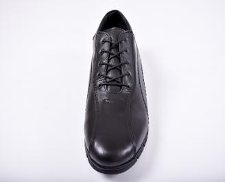 Мъжки спортно елегантни обувки естествена кожа черни UVTI-1011664