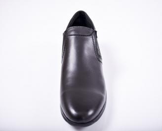 Мъжки спортно елегантни обувки естествена кожа черни UFUQ-1011665