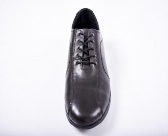 Мъжки спортно елегантни обувки естествена кожа черни KKBR-1011667