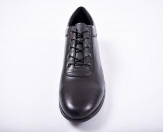 Мъжки спортно елегантни обувки естествена кожа черни XZNQ-1011668