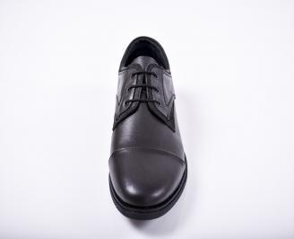 Мъжки спортно елегантни обувки естествена кожа черни FGKE-1011669