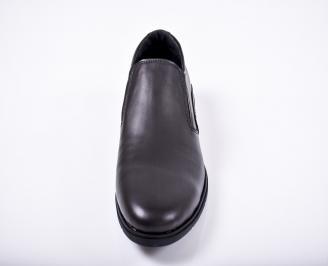 Мъжки спортно елегантни обувки естествена кожа черни KHGU-1011670
