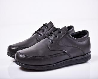 Мъжки спортно елегантни обувки естествена кожа черни GCXI-1011671