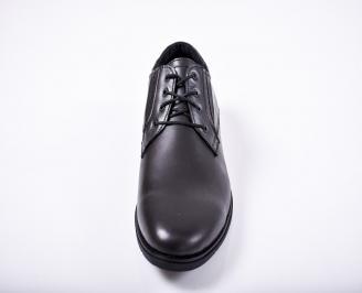 Мъжки спортно елегантни обувки естествена кожа черни VCCP-1011672