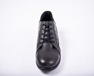 Мъжки спортно елегантни обувки естествена кожа черни RJBI-1011673