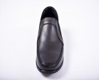 Мъжки спортно елегантни обувки естествена кожа черни NGYG-1011674