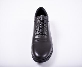 Мъжки спортно елегантни обувки естествена кожа черни TPQA-1011675