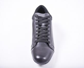 Мъжки спортно елегантни обувки естествена кожа черни MJII-1011677