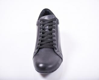 Мъжки спортно елегантни обувки естествена кожа черни UCSO-1011678