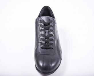Мъжки спортно елегантни обувки естествена кожа черни VZTK-1011679