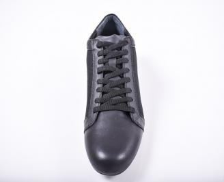 Мъжки спортно елегантни обувки естествена кожа черни WAEM-1011680