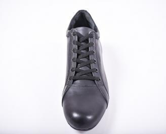 Мъжки спортно елегантни обувки естествена кожа черни PVFE-1011681