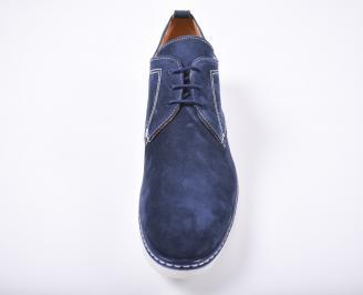 Мъжки спортно елегантни обувки велур сини AAFS-1011770