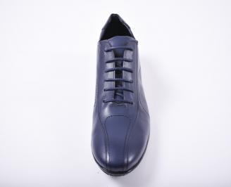 Мъжки спортно елегантни  обувки естествена кожа сини MOLM-1012061