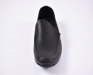 Мъжки спортно елегантни обувки естествена кожа черни MIXQ-1012126