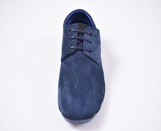 Мъжки спортно елегантни  обувки набук сини SNIQ-1012561