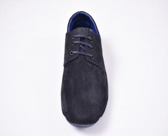 Мъжки спортно елегантни  обувки набук сини TBLH-1012562
