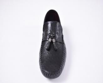 Мъжки спортно елегантни обувки естествена кожа черни RVIZ-1012563