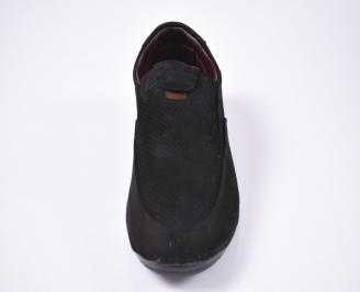 Мъжки спортно елегантни обувки естествен набук черни WBMT-1012566