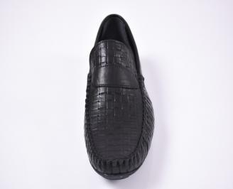 Мъжки спортно елегантни обувки естествена кожа черни HYRG-1012578