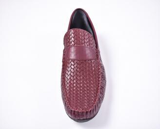 Мъжки спортно елегантни обувки естествена кожа бордо UKGJ-1012604