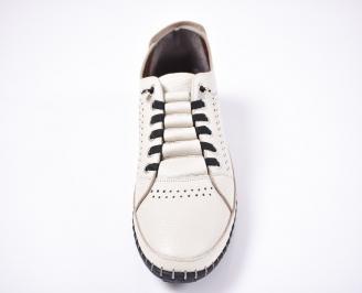 Мъжки спортно елегантни обувки естествена кожа бежови TUSM-1012620