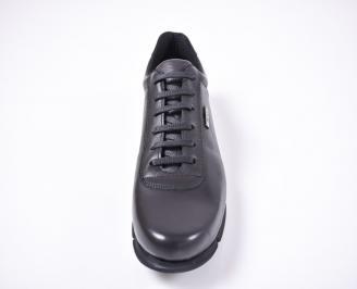 Мъжки спортно елегантни обувки естествена кожа черни UMHV-1012624