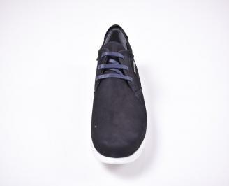 Мъжки спортно елегантни обувки набук  тъмно сини IXNQ-1012628
