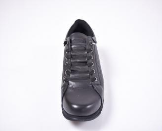 Мъжки спортно елегантни обувки естествена кожа черни MCHF-1012629