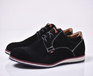 Мъжки спортно елегантни обувки черни AQHW-1014207