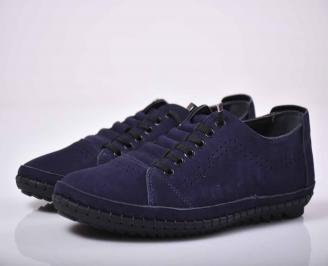 Мъжки спортно елегантни обувки естествен набук черни  TBQS-1015763