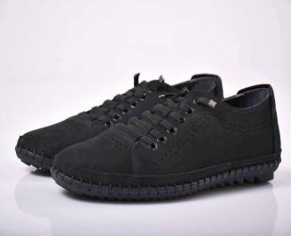Мъжки спортно елегантни обувки естествен набук сини  SDDK-1015764
