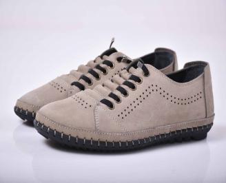 Мъжки спортно елегантни обувки естествен набук бежови  DWRF-1015765