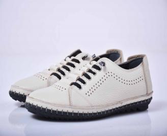 Мъжки спортно елегантни обувки естествена кожа бели  IXXW-1015766