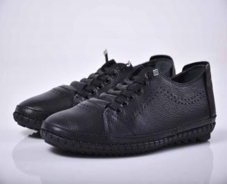 Мъжки спортно елегантни обувки естествена кожа черни  KCBT-1015767