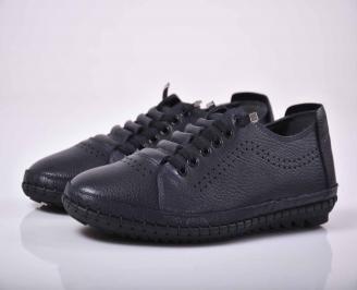 Мъжки спортно елегантни обувки естествена кожа черни  KOMI-1015768