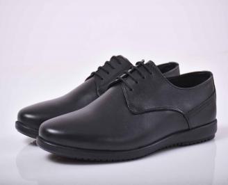 Мъжки спортно елегантни обувки естествена кожа черни  EUMS-1015874