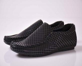 Мъжки спортно елегантни обувки черно  VANB-1015999